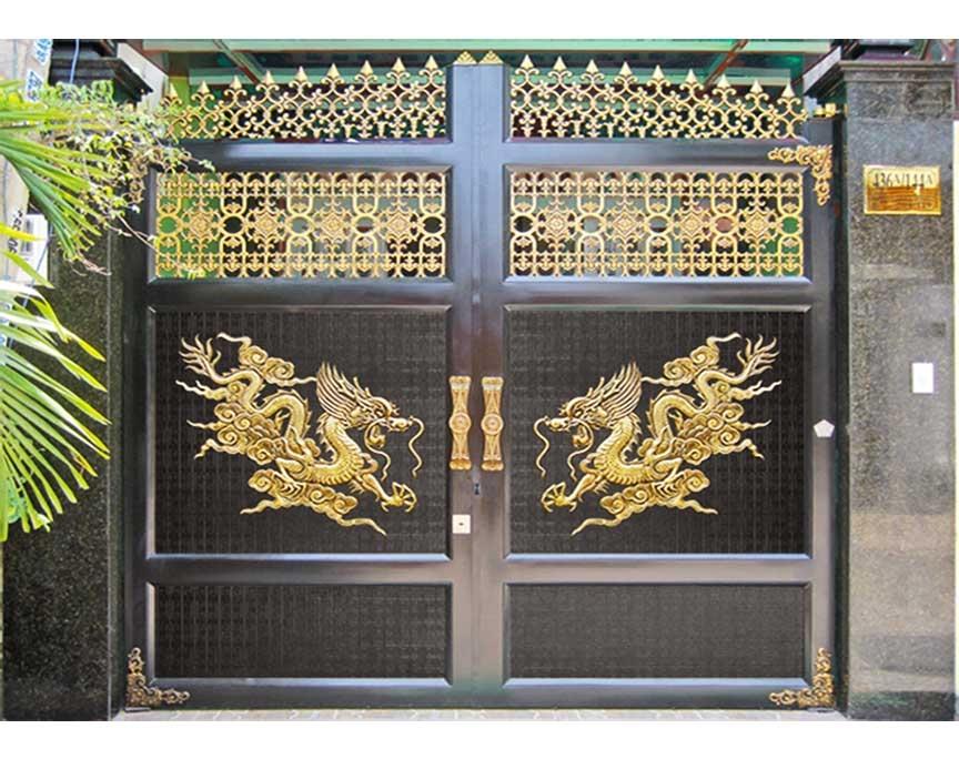 Cửa cổng hợp kim nhôm đúc ghép khung Inox C007